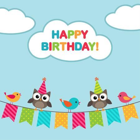 aves caricatura: Tarjeta del feliz cumpleaños con los pájaros y búhos sentado en Bunting