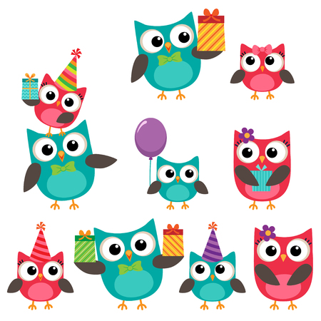 Set of birthday party elements with family of cute owls Çizim