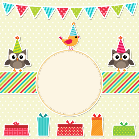 birthday presents: Colorful birthday party card with birds and presents