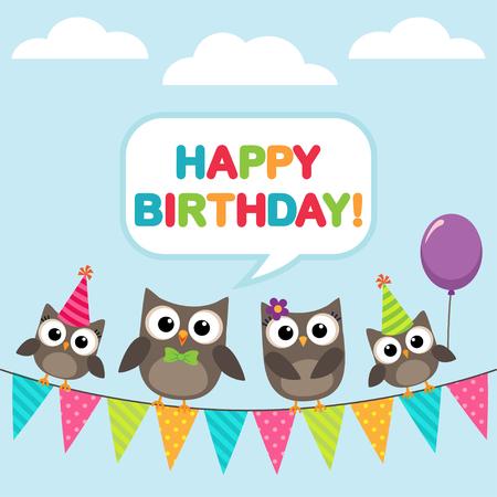 Tarjeta del feliz cumpleaños con la familia ofowls