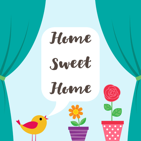 open window: Sweet Home background with open window and flowers in pots and bird Illustration