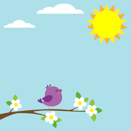 birds in tree: illustration of bird sitting on blooming branch