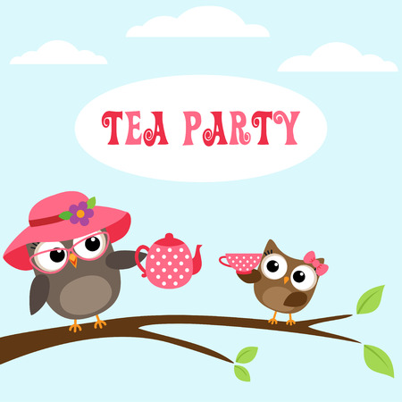 tea cup: Tea party invitation with cute owls on branch with teapot and cup