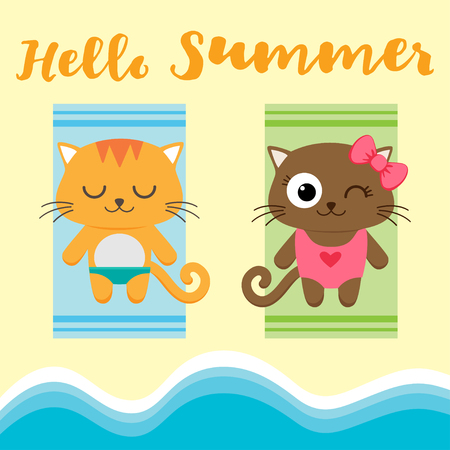 couple in summer: Summer vacation card with couple of cats