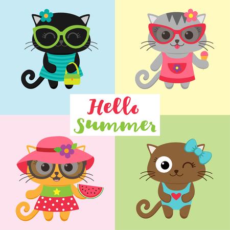 Cute little cat girls wearing dresses. illustration