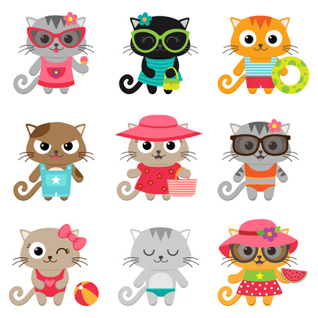Cute little cat girls and boys. illustration
