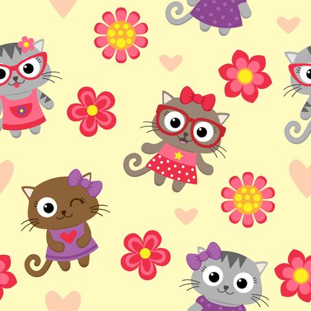 beautiful flowers: Seamless pattern with cute cartoon cats Illustration