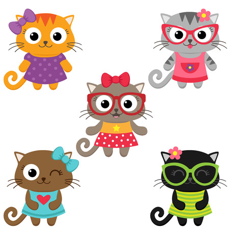 girl wearing glasses: Cute little cat girls wearing dresses. illustration