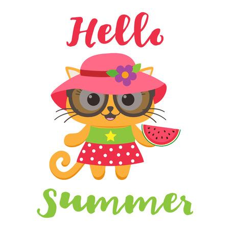 Cute little cat girl wearing dress with watermelon