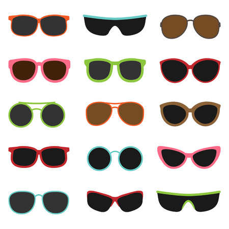Different sun glasses on white background set