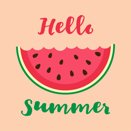 bitten: Vector illustration with bitten watermelon slice and lettering hello summer