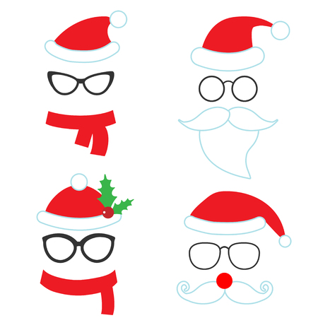 christmas party: Christmas party vector set of hats, scarfs, beards for photo booth on white background Illustration