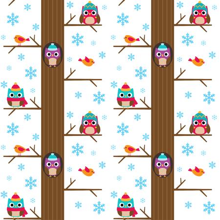 birds cartoon: Winter tree with owls vector seamless pattern Illustration