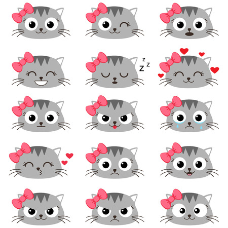 Set of cute cartoon cat emotions