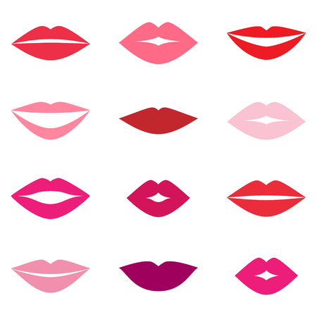girl mouth: Different womens lips vector set