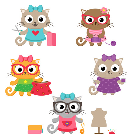 Tailoring vector set. Cute little cat girls with sewing accessories