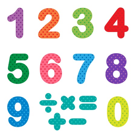 Numbers from zero to nine with mathematical signs Illustration