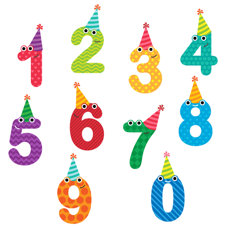Happy birthday anniversary numbers with faces and hats