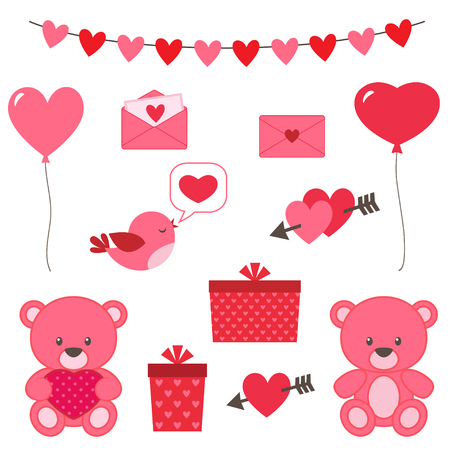 Valentines day set of vector elements - bear, hearts, bird, balloons etc Illustration