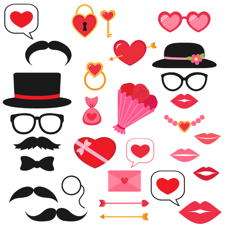Valentine photo booth vector set
