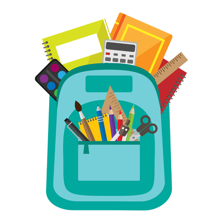 Open vector bag with school stationery and supllies. Back to school illustration
