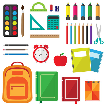 Vector set of school supplies. Back to school background with stationery Illustration