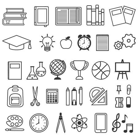벡터 학교 용품 아이콘, 교육 기호 및 편지지의 아이콘 설정