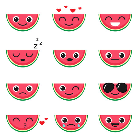 Cute watermelon emoji set. Vector illustration of fruit emoticons Illustration