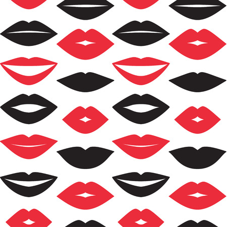Vector seamless background with red lips prints