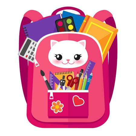 Open roze vectorzak met grappige kat op het hoogtepunt met schoolkantoorbehoeften en levering. Terug naar school illustratie