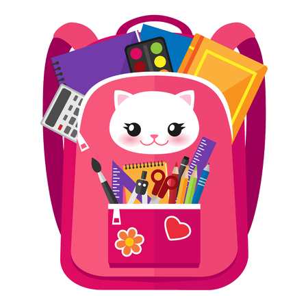 Open pink vector bag with funny cat on it full with school stationery and supplies. Back to school illustration