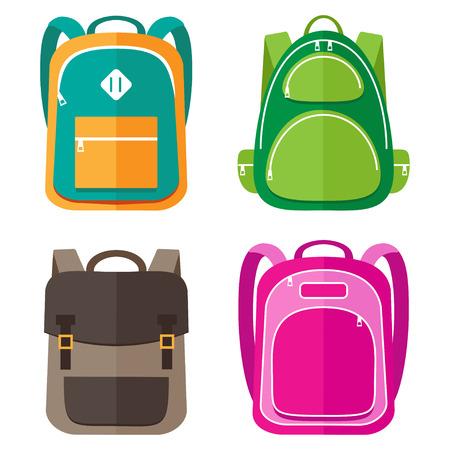 Vector set of kids school bags