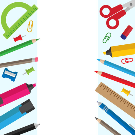 Vector background with stationery and office supplies and place for text Illustration
