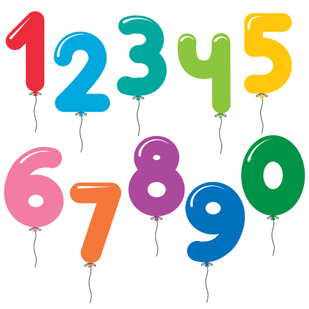 Vector set of number shaped colorful balloons
