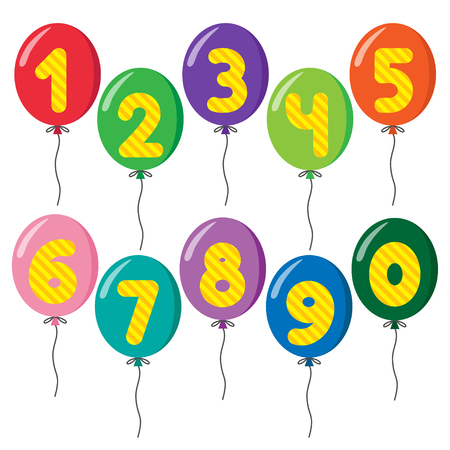 Set of colorful balloons on strings with numbers