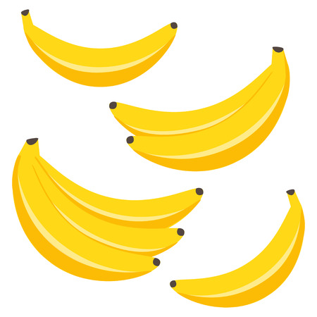 Vector set of yellow bananas Banco de Imagens