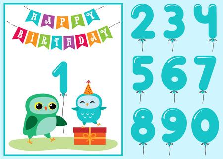 Birthday anniversary card with cute owls Banco de Imagens