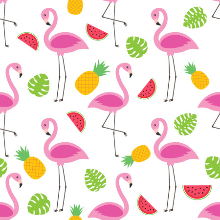Vector seamless pattern with flamingos, pineapples and watermelons. Ilustração