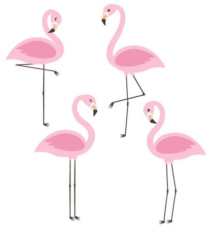 Vector set with four cute cartoon pink flamingos illustration.