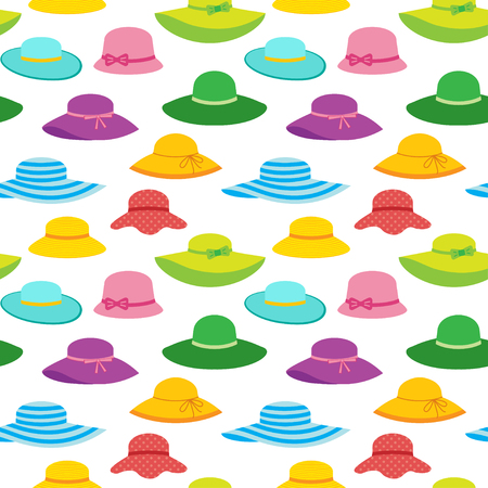 Vector seamless pattern with summer hats