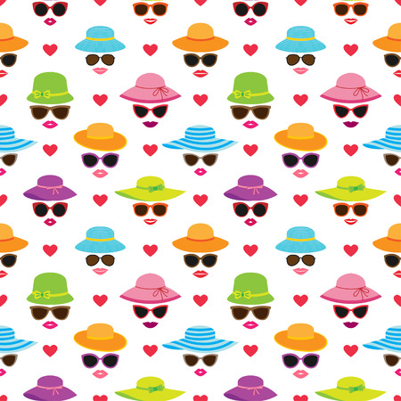 Vector seamless pattern with beautiful womens faces Ilustração