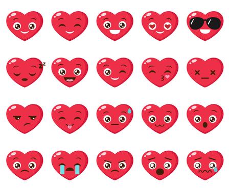 Vector set of different heart emoji illustration. Ilustração