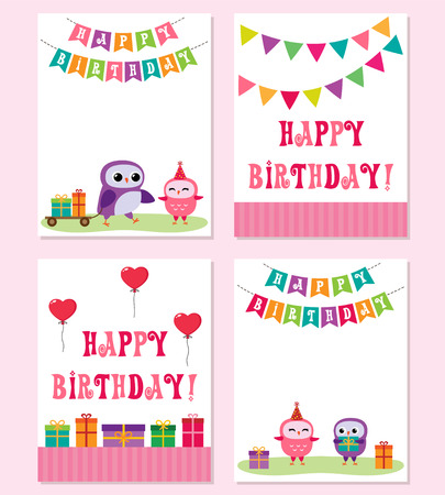 Birthday cards with in pink color vector illustration.