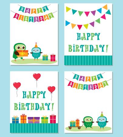 Birthday anniversary card with cute owls Ilustração