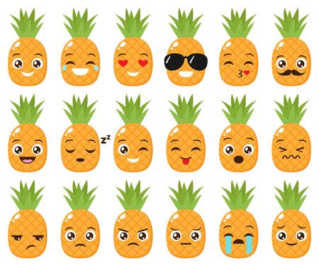 Vector set of cute pineapple emojis Ilustração