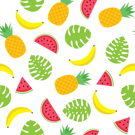 Vector seamless pattern with tropical leaves, pineapples, bananas and watermelon slices. Ilustração