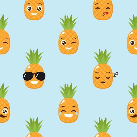 Vector seamless background with funny pineapples Ilustração