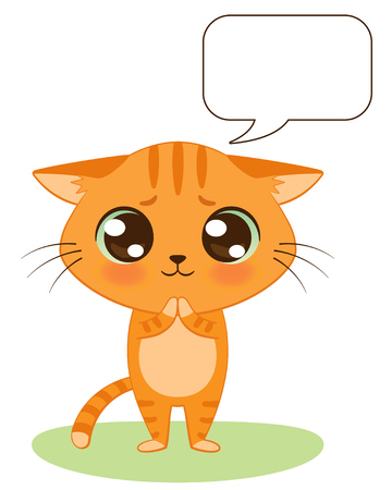 Cute cartoon kitten is begging. Vector background with bubble speech for your text Ilustração