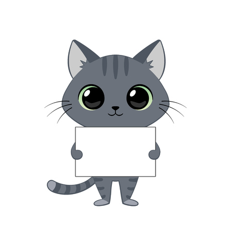 Cute grey cartoon kitten with an empty sign for your text