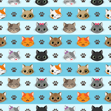 Cute vector seamless pattern with happy cats Ilustração